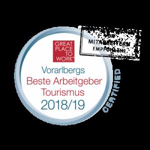 Zertifikat – Vorarlbergs beste Arbeitgeber Tourismus 2018/19